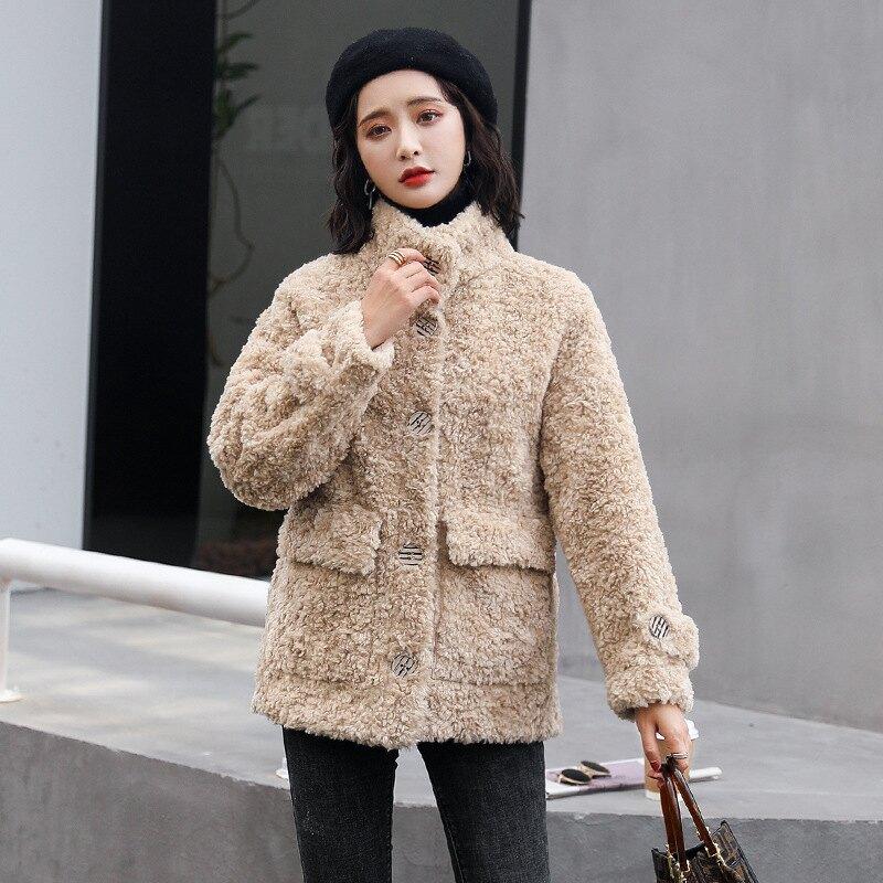 羊羔毛外套短版大衣-純色寬鬆休閒大紐扣女外套3色73zq13【獨家進口】【米蘭精品】