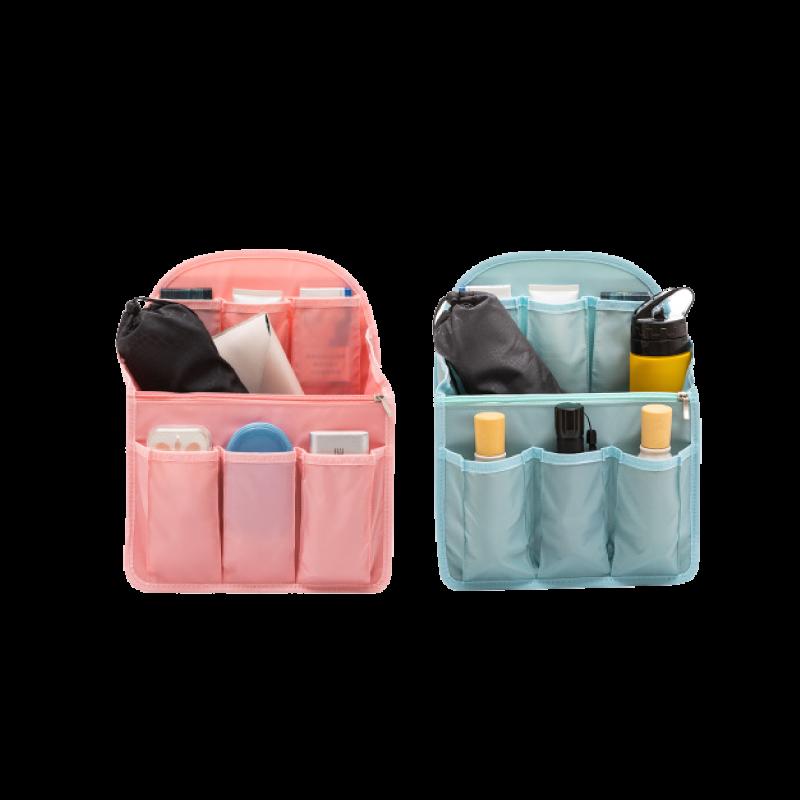 【大容量十格收納】背包內袋 分類整理 後背包 手提包 包包整理神器-黑/藍/粉 【AAA6553】