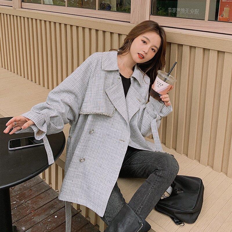 風衣外套短版大衣-格紋小香風雙排扣寬鬆女外套73zq26【獨家進口】【米蘭精品】