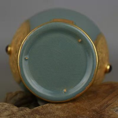 宋汝窯包金鑲寶石清涼寺款魚尾瓶 真品出土文物古瓷器 古玩古董收