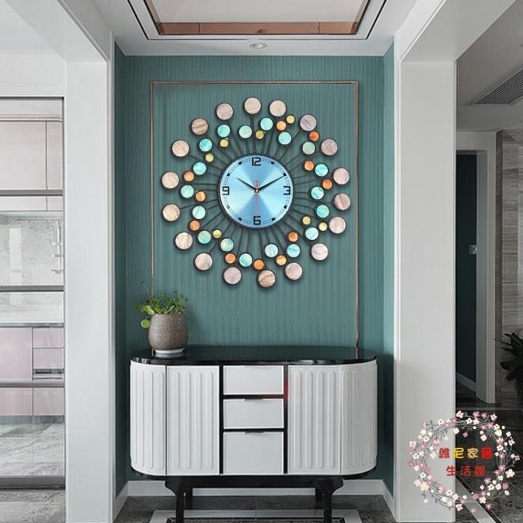 掛鐘純手工鐵藝深海貝殼鐘錶掛鐘時鐘客廳創意個性家用靜音錶 七色堇 新年春節 送禮