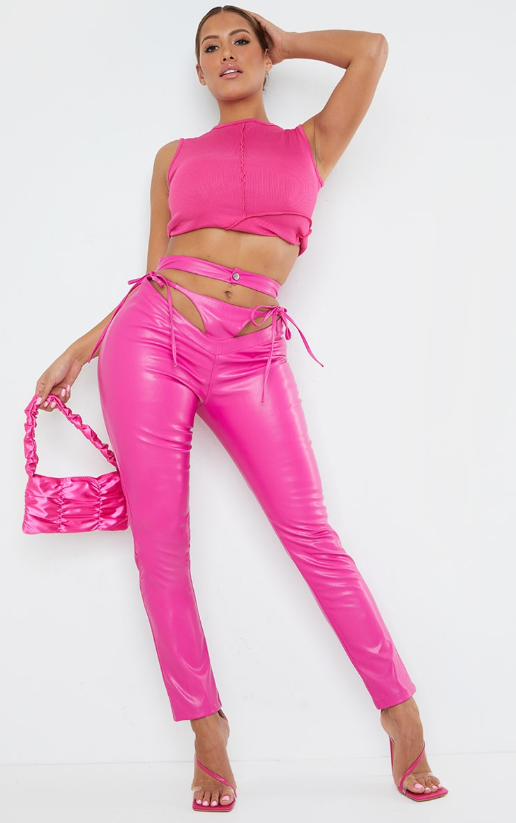 Shape Hot Pink PU Cut Out Tie Detail Straight Leg Pants