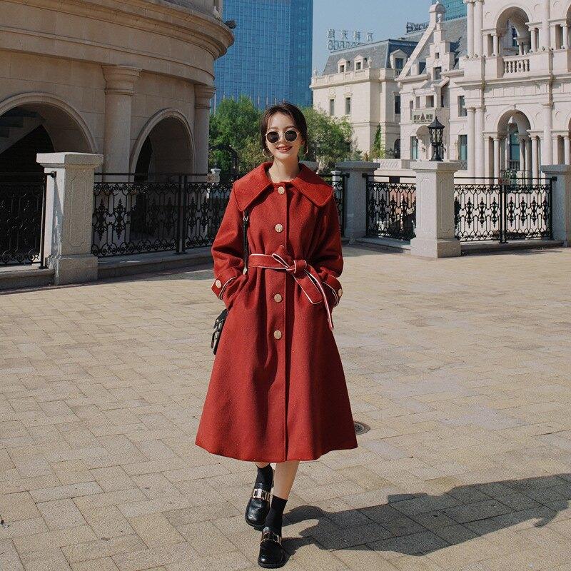 毛呢外套長版大衣-紅色綁帶收腰氣質女外套73zq14【獨家進口】【米蘭精品】