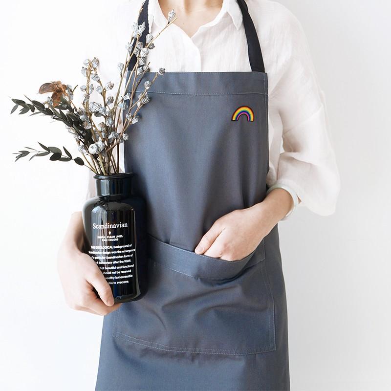 棉麻圍裙廚房男家用簡約純棉時尚防水防油個性男士刺繡工作服女