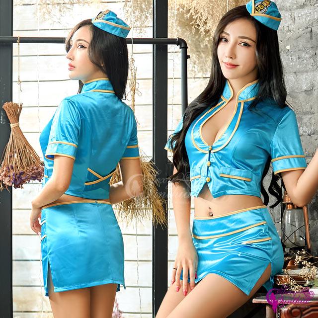 【Sexy Cynthia】角色扮演 迷情亮藍空姐角色扮演服三件組