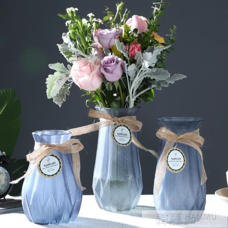 簡約玻璃花瓶彩色磨砂工藝擺件插花器玫瑰百合水培富貴竹花瓶透明