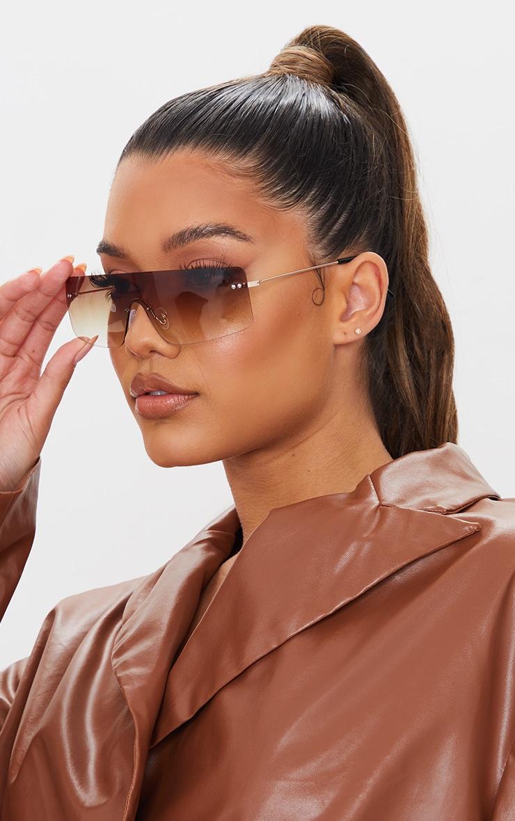 Brown Faded Lens Square Frame Frameless Sunglasses