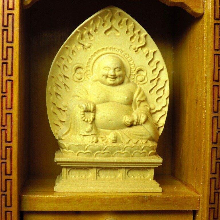 精品隨身佛龕 黃楊木彌勒佛木雕佛像