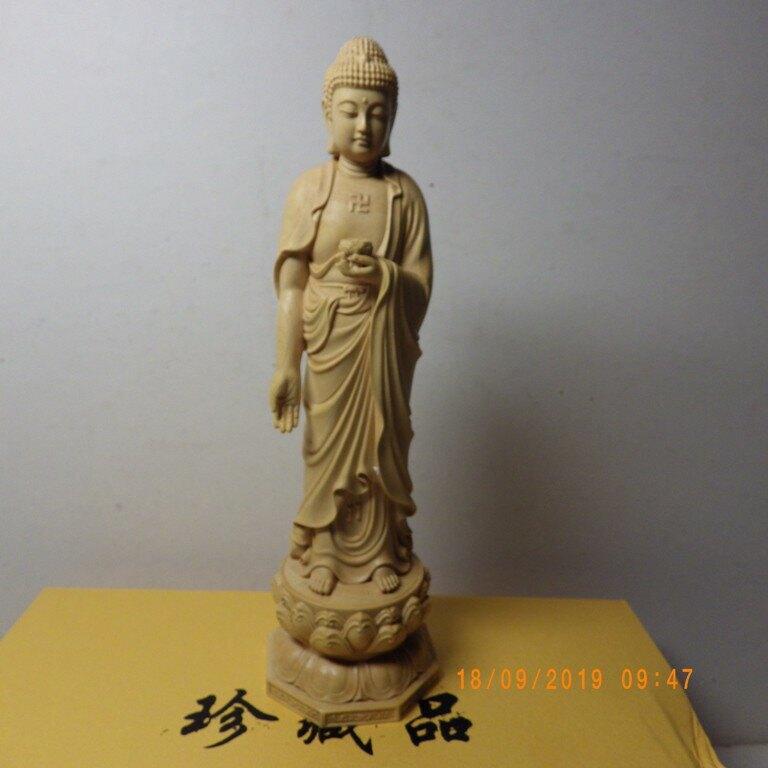黃楊木精雕西方三聖阿彌陀佛.觀音菩薩.大勢至菩薩(立姿高20公分)