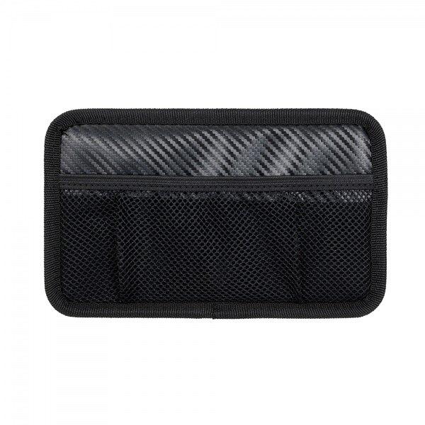 權世界@汽車用品 日本NAPOLEX 碳纖紋多功能黏貼式車內便利置物收納網袋 Fizz-1109