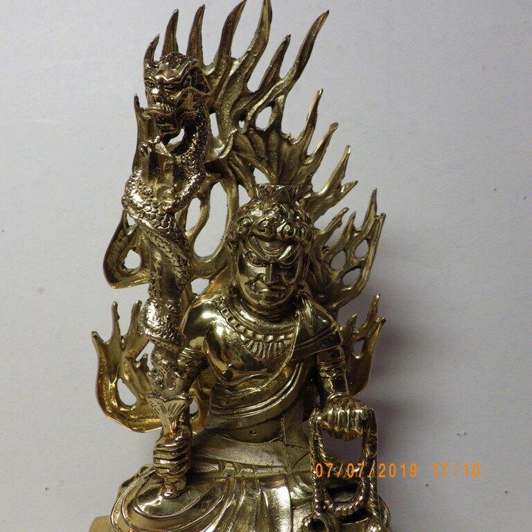 銅精雕鎏金不動明王含背光約21公分品質保證價格便宜