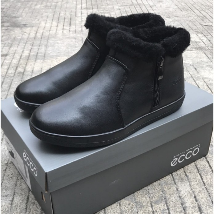 ▲✠正品ECCO/愛步羊毛媽媽鞋冬天媽媽穿的雪地靴女加絨保暖棉鞋女老人戶外防水靴