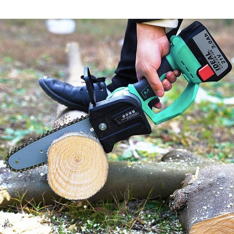 鋰電充電式電鏈鋸電動單手鋸戶外伐木鋸手持修枝砍樹電鋸小油鋸