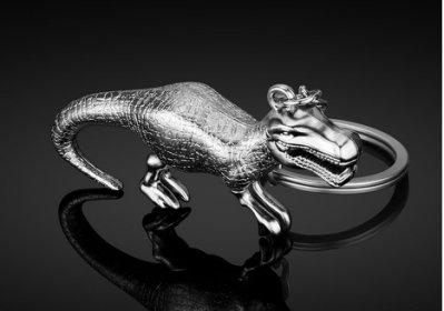 [現貨] H-120 銀色 霸王龍 立體仿真恐龍 鑰匙扣創意金屬恐龍鑰匙挂件歐美電影周邊贈送小禮品 創意挂件 鋅合金禮品