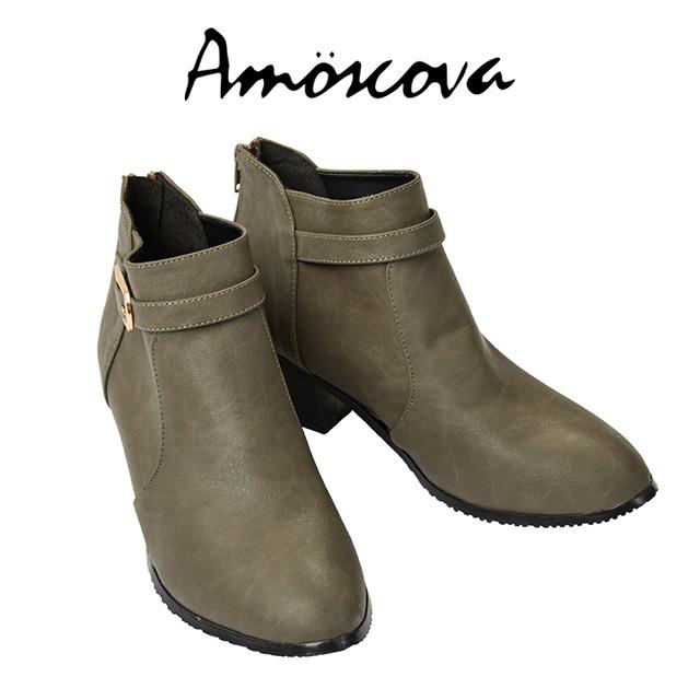 【Amoscova】MIT中性金釦尖頭裸靴760-灰色