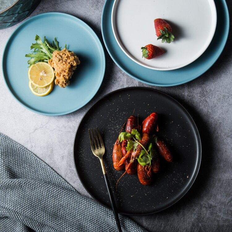 北歐創意家用陶瓷菜盤 西餐盤托盤牛排盤子黑色餐具早餐盤圓平盤 全網低價