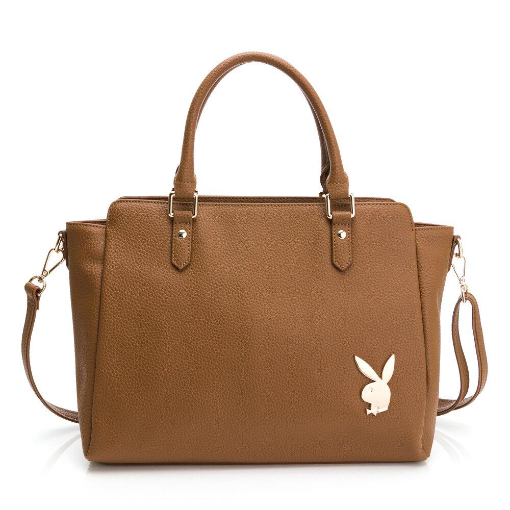 PLAYBOY-  手提包可斜背 經典兔頭系列-咖啡色