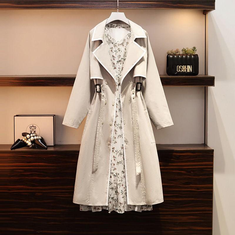 【台灣現貨】單件/套裝 大碼女裝秋裝2020年新款胖妹妹風衣外套連衣裙兩件套裝