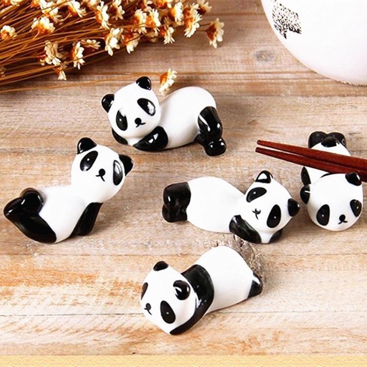 新款日式陶瓷熊貓筷子托筷子架創意多款形大熊貓桌面筆托筷托 全網低價