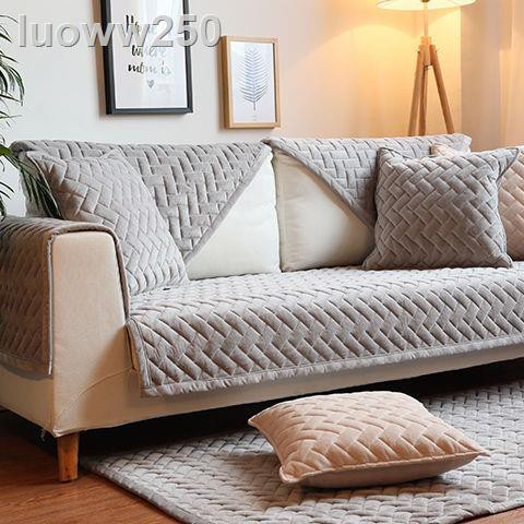 ❃冬季簡約現代法蘭絨沙發墊坐墊布藝短毛絨沙發套巾防滑定做