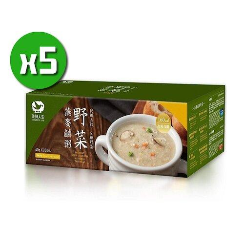 美好人生 高鈣即食野菜燕麥鹹粥x5盒(20包/盒)_高鈣高纖
