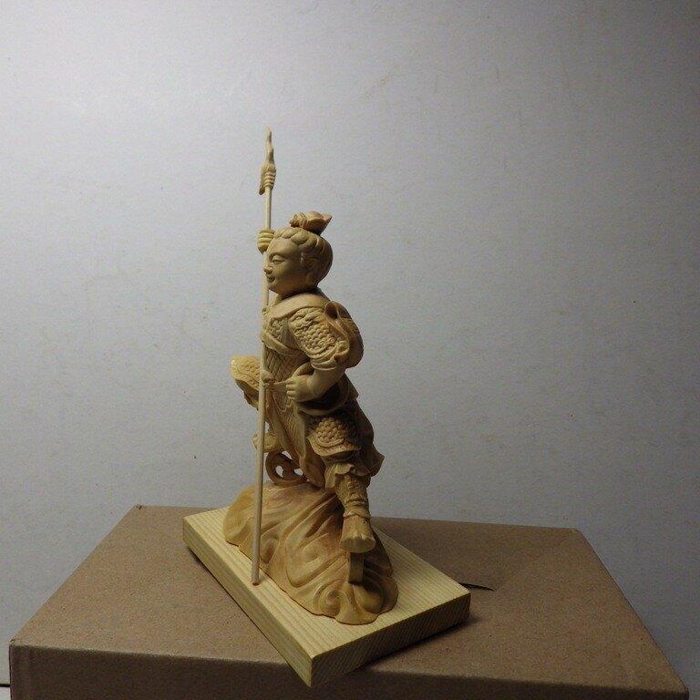 黃楊木三太子木雕佛像10公分(2)