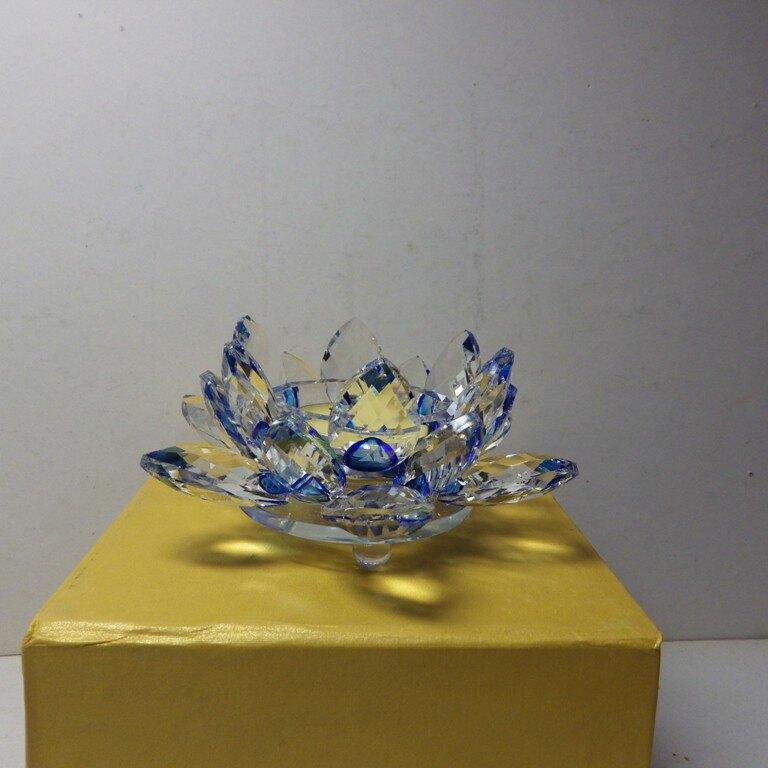 熱銷款9K水晶玻璃蓮花燭台酥油燈擺件(藍色)