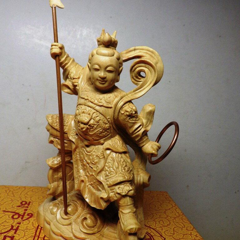 黃楊木三太子木雕佛像10公分