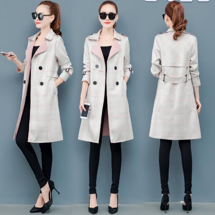 中長款風衣女士2020年秋冬季新款百搭洋氣質格子矮小個子大衣外套