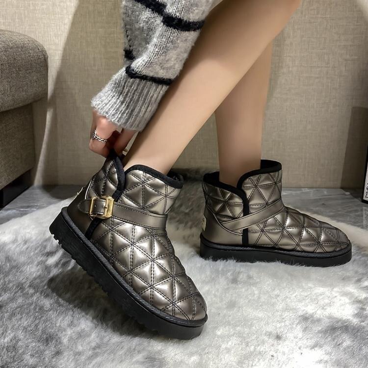 網紅雪地棉靴女皮面防水皮毛一體冬季2020年新款加絨加厚面包棉鞋