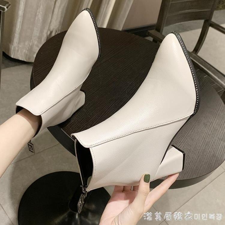 粗跟短靴2020春秋季新款尖頭短靴韓版百搭后拉鏈短筒高跟靴女靴潮