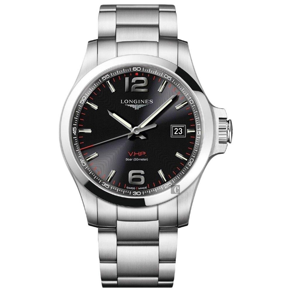 LONGINES浪琴 征服者系列V.H.P.萬年曆腕錶 L37264566-黑