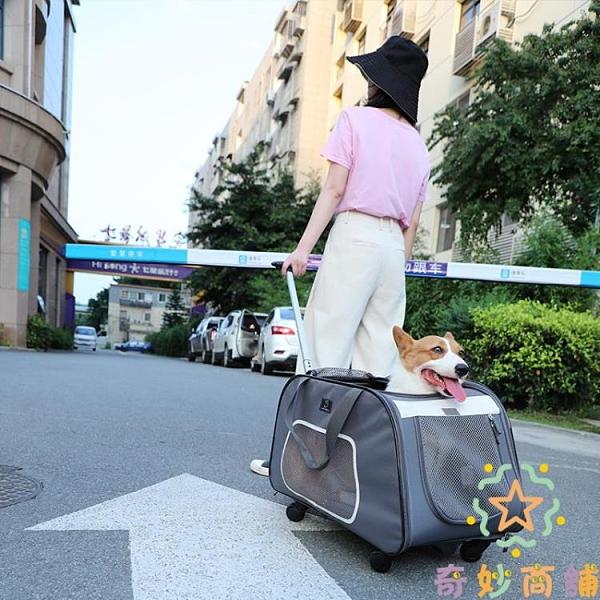 寵物外出便攜包寵物拉桿箱貓包狗狗車載背包【奇妙商鋪】