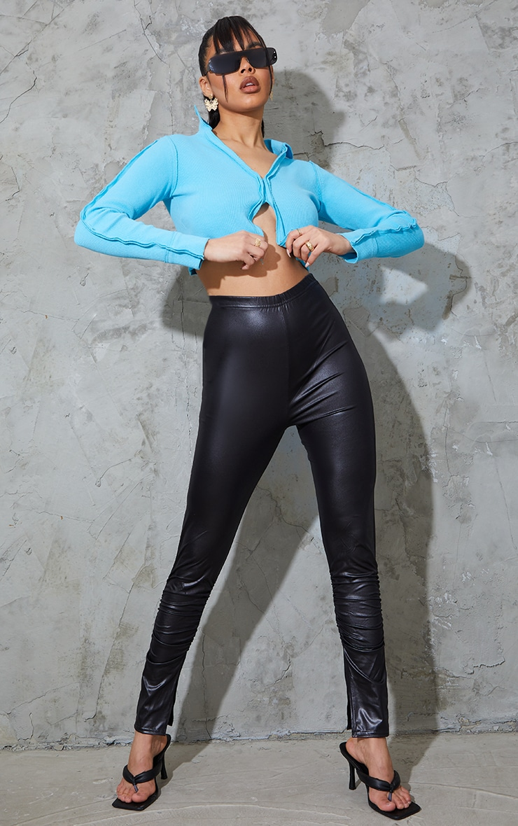 Black Wet Look Ruched Split Hem Leggings