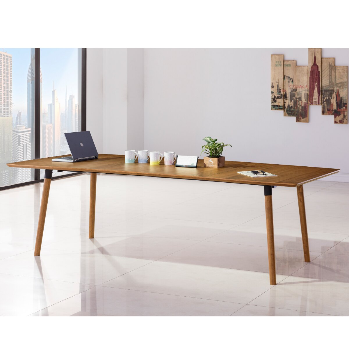 《2021輕鬆成家專案-買就『送』木質精油》萊恩伸縮洽談桌+伊默斯布面會議椅一桌四椅組【myhome8居家無限】