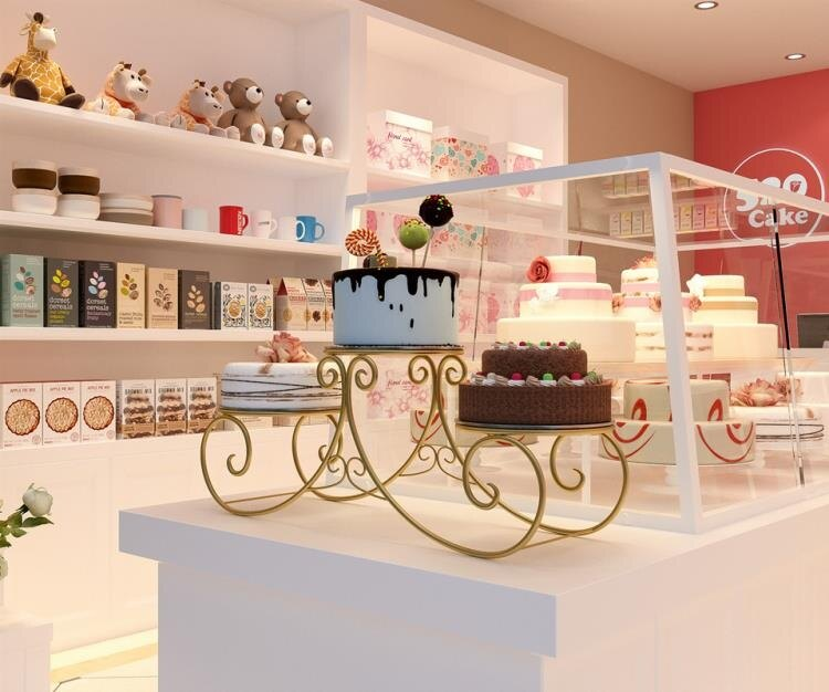 歐式鐵藝多層蛋糕架子餐飲店婚禮網狀三層展示架生日水果甜品盤架