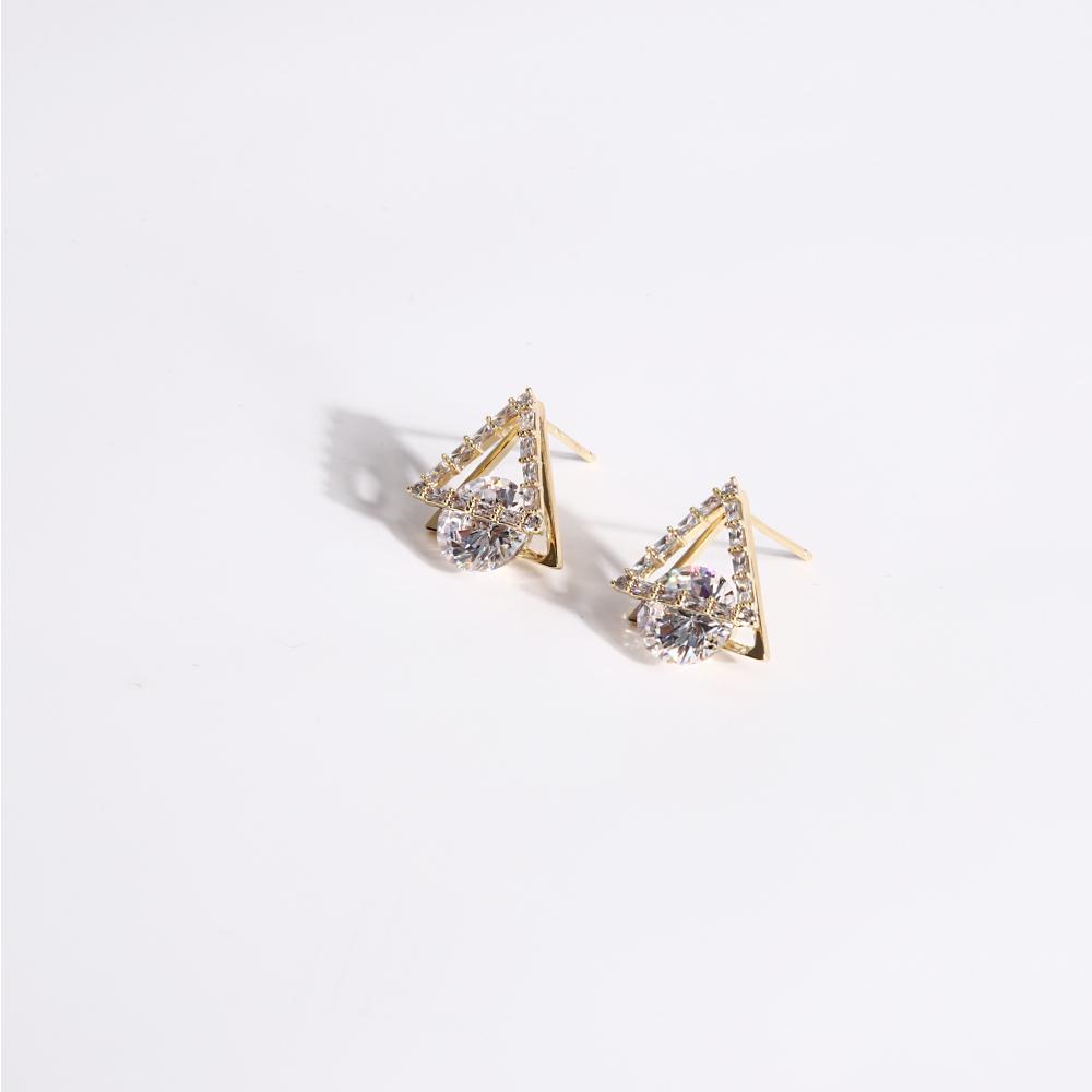 SO NICE三角依戀純銀針耳環
