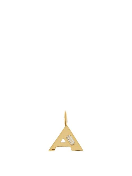 Lizzie Mandler - Deco Diamond & 18kt Gold Alphabet A-m Charm - Womens - Yellow Gold