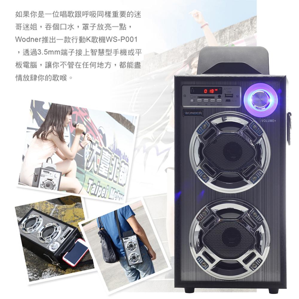 聚會玩樂 WONDER 卡拉OK歡樂唱隨身音響 WS-P001 隨身音樂 支援記憶卡 雙麥克風插孔 歡唱機 內建收音機