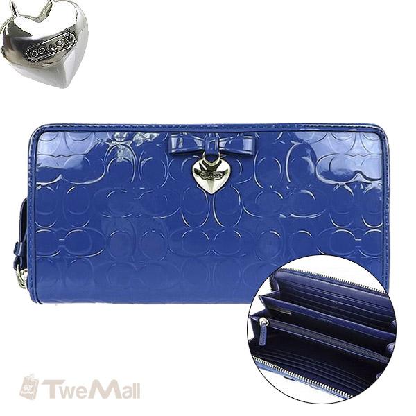 COACH漆皮亮面愛心吊飾長夾皮夾(藍)