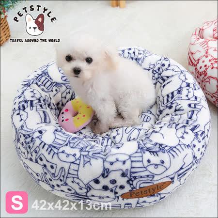 日系PetStyle《手繪風貓狗印花寵物圓床S》