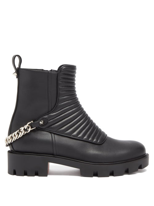 Christian Louboutin - Maddic Max Chain-link Ribbed-leather Ankle Boots - Womens - Black