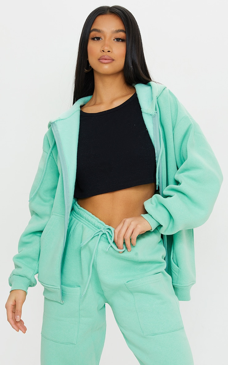 Petite Green Extreme Oversized Pocket Front Zip Through Hoodie