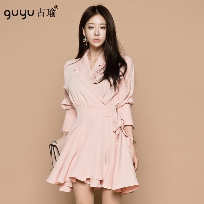 GUYU古瑜正韓粉色收腰綁帶洋裝氣質俐落宴會小禮服尾牙新年連衣裙