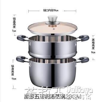 湯鍋不銹鋼304家用加厚鍋具燜鍋煮鍋火鍋電磁爐燃氣單層2層小蒸鍋