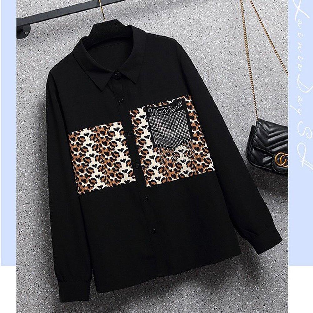 【麗質達人】OM11908黑色釘珠長袖襯杉(L-4XL)