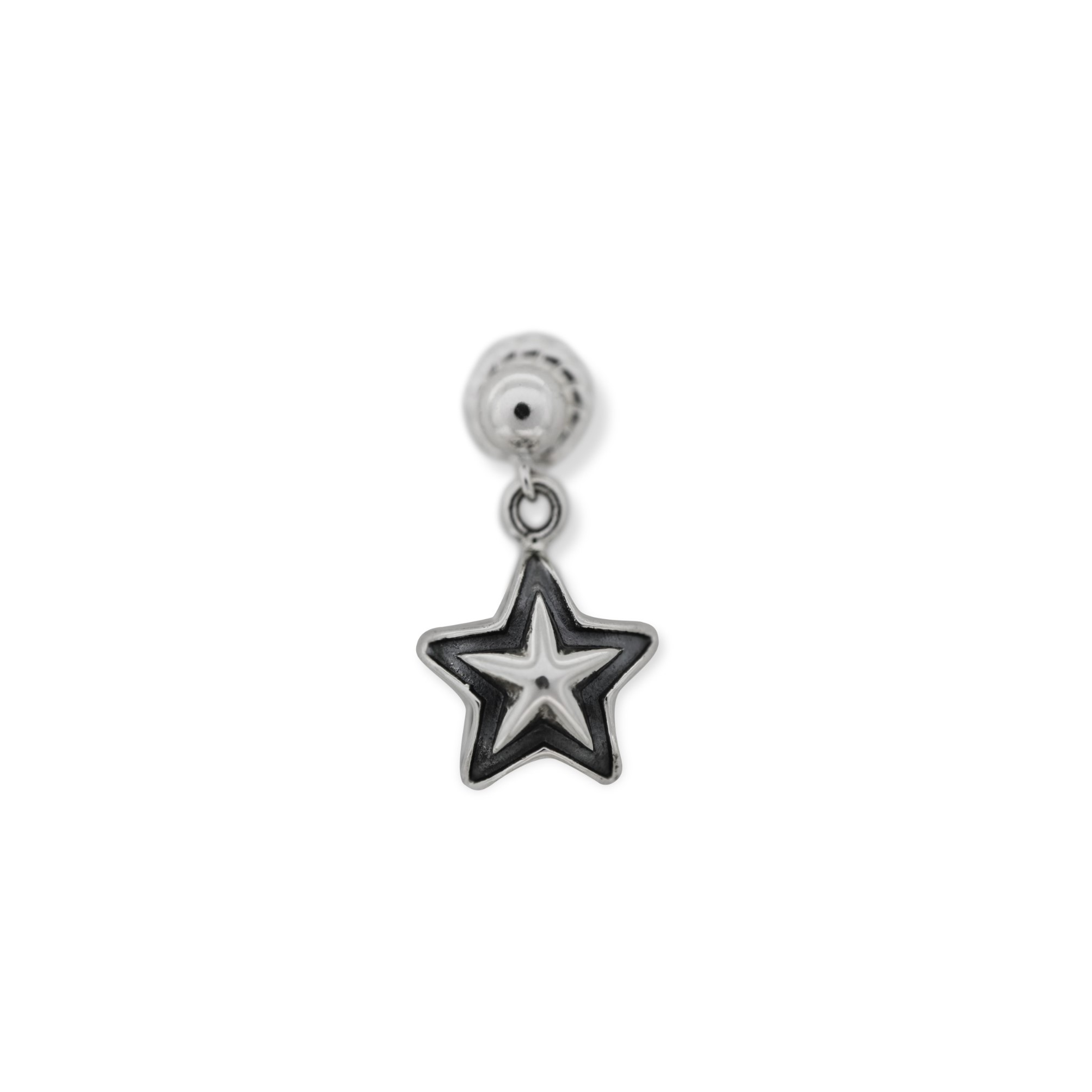 TINY DOUBLE FACE STAR EARRING  [USD $330]