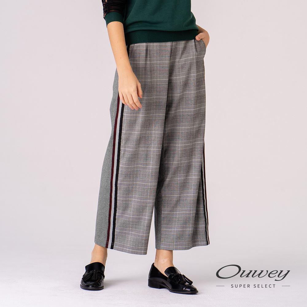 OUWEY歐薇 英倫風格紋造型剪接織帶寬版長褲(灰)H66629