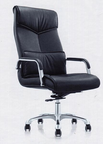 642-2大型黑皮主管椅 / 辦公椅-懸背-烤銀腳