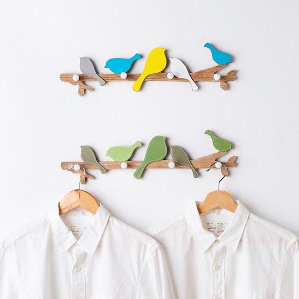 玄關鑰匙 美式鄉村小鳥掛鉤實木墻壁鑰匙掛衣鉤創意玄關墻面壁掛裝飾【快速出貨八折下殺】